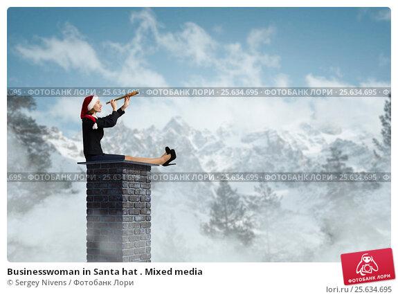 Купить «Businesswoman in Santa hat . Mixed media», фото № 25634695, снято 3 мая 2009 г. (c) Sergey Nivens / Фотобанк Лори
