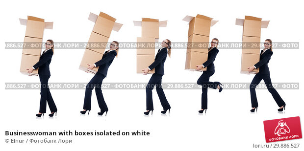 Купить «Businesswoman with boxes isolated on white», фото № 29886527, снято 22 августа 2013 г. (c) Elnur / Фотобанк Лори