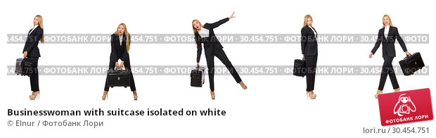 Businesswoman with suitcase isolated on white. Стоковое фото, фотограф Elnur / Фотобанк Лори