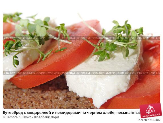 Бутерброд с моцареллой и помидорами на черном хлебе, посыпанный ростками кресс-салата, фото № 216407, снято 5 марта 2008 г. (c) Tamara Kulikova / Фотобанк Лори