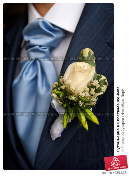 Бутоньерка на костюме жениха, фото № 235875, снято 1 марта 2008 г. (c) Григорий Сухарев / Фотобанк Лори