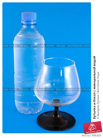 Купить «Бутылка и бокал с минеральной водой», фото № 104623, снято 20 апреля 2018 г. (c) Валерия Потапова / Фотобанк Лори