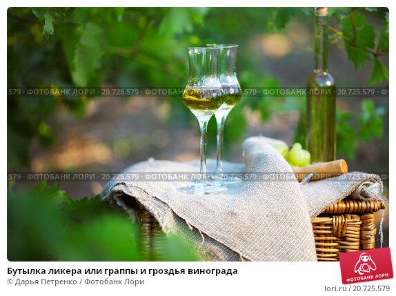 Купить «Бутылка ликера или граппы и гроздья винограда», фото № 20725579, снято 21 августа 2018 г. (c) Дарья Петренко / Фотобанк Лори