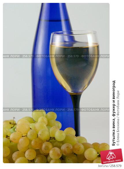 Купить «Бутылка вина, фужер и виноград», фото № 258579, снято 23 августа 2007 г. (c) Елена Блохина / Фотобанк Лори
