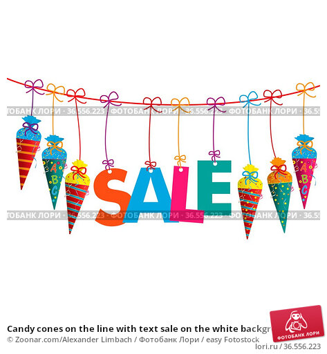 Candy cones on the line with text sale on the white background. Eps... Стоковое фото, фотограф Zoonar.com/Alexander Limbach / easy Fotostock / Фотобанк Лори