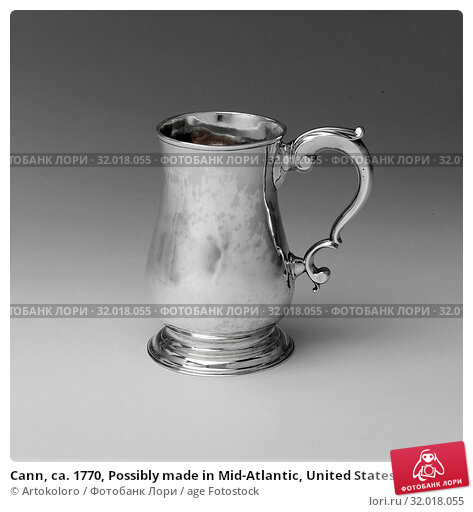 Купить «Cann, ca. 1770, Possibly made in Mid-Atlantic, United States, Probably made in New England, United States, American, Silver, Overall: 5 1/2 x 5 5/16 in...», фото № 32018055, снято 20 февраля 2017 г. (c) age Fotostock / Фотобанк Лори