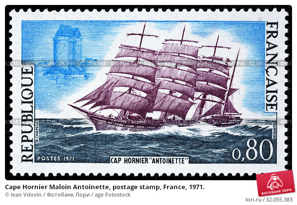 Cape Hornier Maloin Antoinette, postage stamp, France, 1971. (2013 год). Редакционное фото, фотограф Ivan Vdovin / age Fotostock / Фотобанк Лори