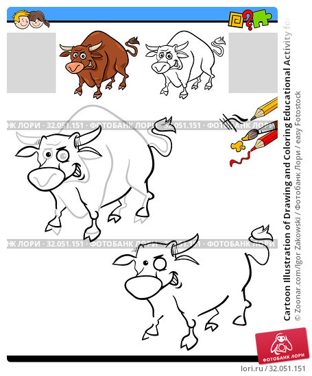 Cartoon Illustration of Drawing and Coloring Educational Activity for Children with Chicken Bull Farm Animal Character. Стоковое фото, фотограф Zoonar.com/Igor Zakowski / easy Fotostock / Фотобанк Лори