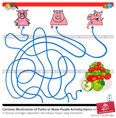 Cartoon Illustration of Paths or Maze Puzzle Activity Game with Funny Pigs Farm Animal Characters and Apples. Стоковое фото, фотограф Zoonar.com/Igor Zakowski / easy Fotostock / Фотобанк Лори