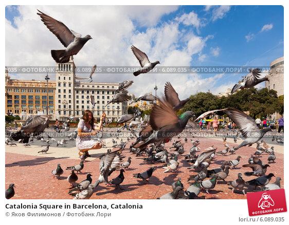 Купить «Catalonia Square in Barcelona, Catalonia», фото № 6089035, снято 12 сентября 2013 г. (c) Яков Филимонов / Фотобанк Лори