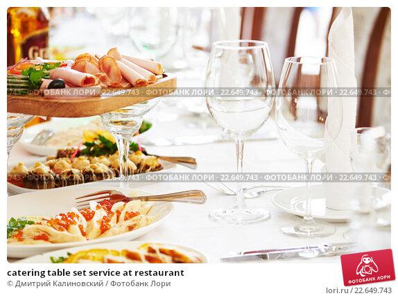 Купить «catering table set service at restaurant», фото № 22649743, снято 24 апреля 2015 г. (c) Дмитрий Калиновский / Фотобанк Лори