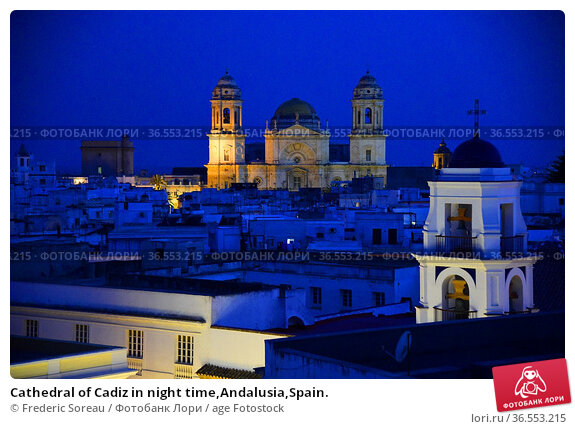 Cathedral of Cadiz in night time,Andalusia,Spain. Стоковое фото, фотограф Frederic Soreau / age Fotostock / Фотобанк Лори