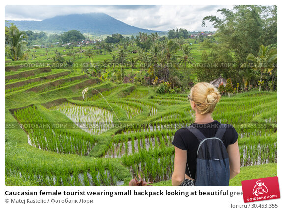 Caucasian female tourist wearing small backpack looking at beautiful green rice fields and terraces of Jatiluwih on Bali island. Стоковое фото, фотограф Matej Kastelic / Фотобанк Лори