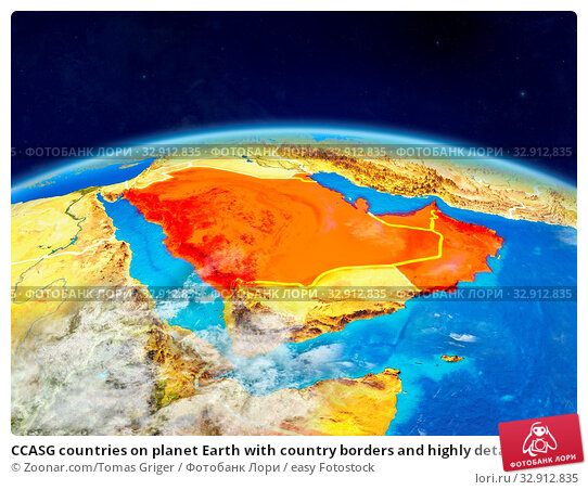 CCASG countries on planet Earth with country borders and highly detailed planet surface and clouds. 3D illustration. Elements of this image furnished by NASA. Стоковое фото, фотограф Zoonar.com/Tomas Griger / easy Fotostock / Фотобанк Лори