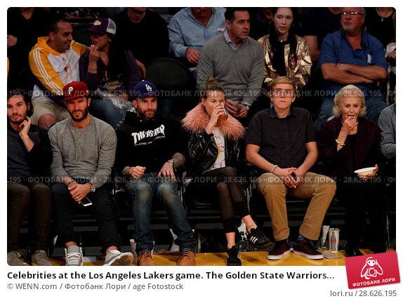 Купить «Celebrities at the Los Angeles Lakers game. The Golden State Warriors defeated the Los Angeles Lakers by the final score of 109-85 at the Staples Center...», фото № 28626195, снято 25 ноября 2016 г. (c) age Fotostock / Фотобанк Лори