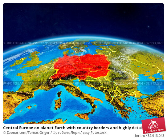 Central Europe on planet Earth with country borders and highly detailed planet surface and clouds. 3D illustration. Elements of this image furnished by NASA. Стоковое фото, фотограф Zoonar.com/Tomas Griger / easy Fotostock / Фотобанк Лори