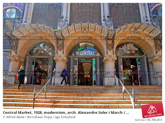 Central Market, 1928, modernism, arch. Alexandre Soler i March / ... Стоковое фото, фотограф Alfred Abad / age Fotostock / Фотобанк Лори