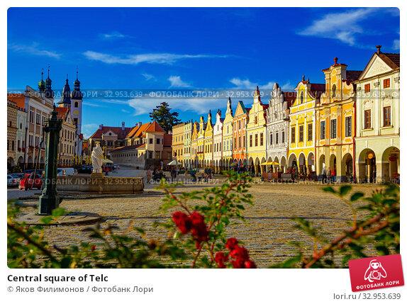 Central square of Telc. Стоковое фото, фотограф Яков Филимонов / Фотобанк Лори
