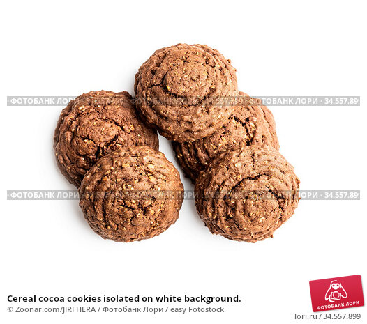 Cereal cocoa cookies isolated on white background. Стоковое фото, фотограф Zoonar.com/JIRI HERA / easy Fotostock / Фотобанк Лори