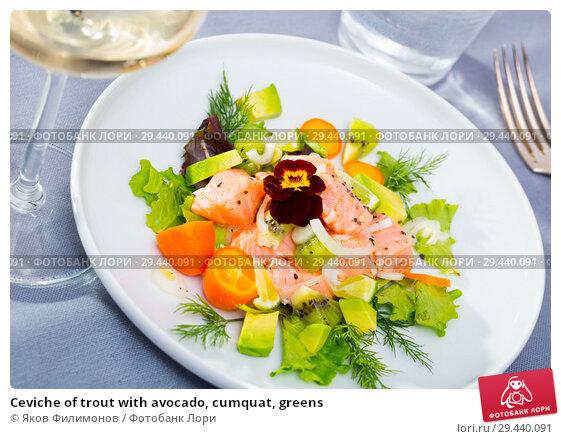 Купить «Ceviche of trout with avocado, cumquat, greens», фото № 29440091, снято 15 ноября 2019 г. (c) Яков Филимонов / Фотобанк Лори