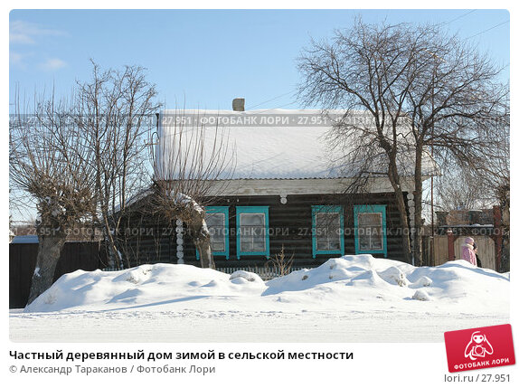 Частный деревянный дом зимой в сельской местности, фото № 27951, снято 23 октября 2016 г. (c) Александр Тараканов / Фотобанк Лори