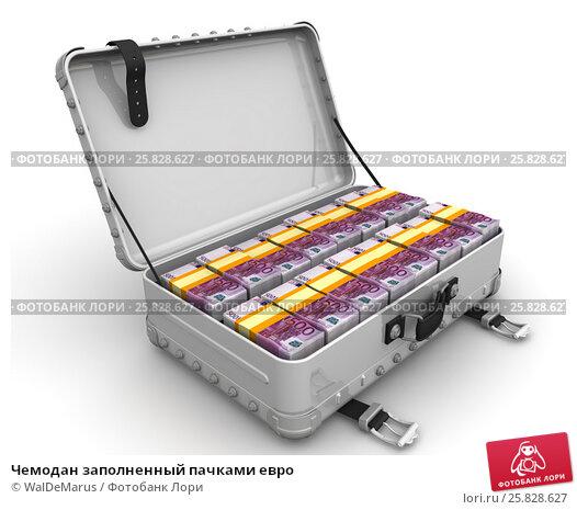 Чемодан заполненный пачками евро, иллюстрация № 25828627 (c) WalDeMarus / Фотобанк Лори
