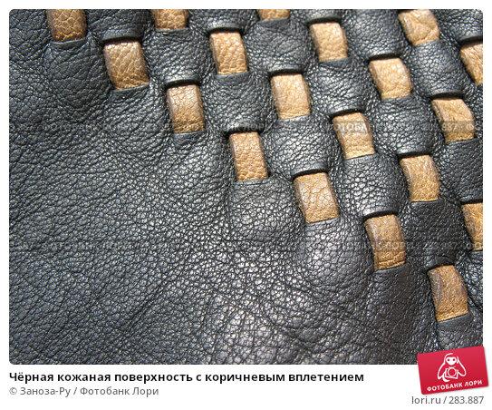 Чёрная кожаная поверхность с коричневым вплетением, фото № 283887, снято 9 мая 2008 г. (c) Заноза-Ру / Фотобанк Лори