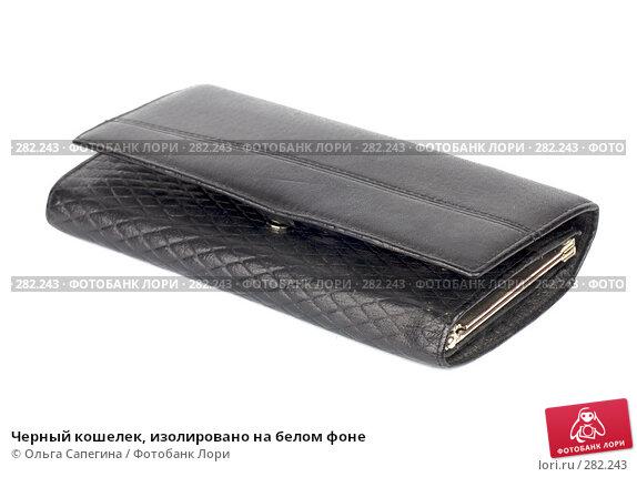 Черный кошелек, изолировано на белом фоне, фото № 282243, снято 27 марта 2008 г. (c) Ольга Сапегина / Фотобанк Лори