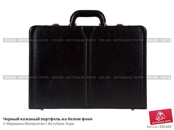 Черный кожаный портфель на белом фоне, фото № 259659, снято 2 декабря 2006 г. (c) Марианна Меликсетян / Фотобанк Лори