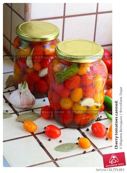 Купить «Cherry tomatoes canned.», фото № 33773851, снято 17 мая 2020 г. (c) Марина Володько / Фотобанк Лори