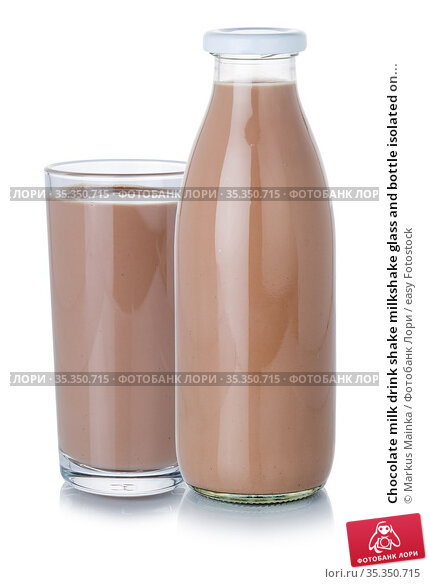 Chocolate milk drink shake milkshake glass and bottle isolated on... Стоковое фото, фотограф Markus Mainka / easy Fotostock / Фотобанк Лори