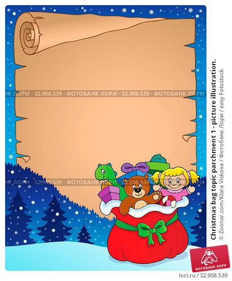 Christmas bag topic parchment 1 - picture illustration. Стоковое фото, фотограф Zoonar.com/Klara Viskova / easy Fotostock / Фотобанк Лори
