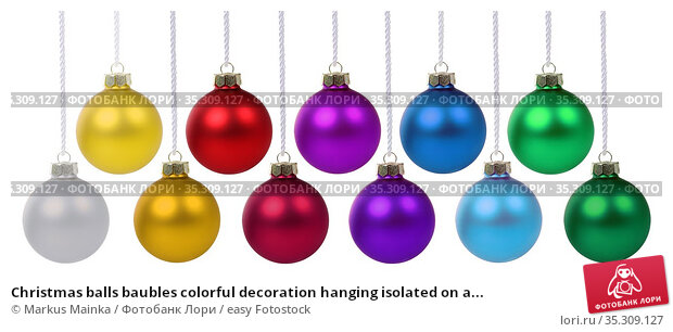 Christmas balls baubles colorful decoration hanging isolated on a... Стоковое фото, фотограф Markus Mainka / easy Fotostock / Фотобанк Лори