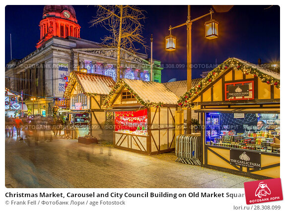 Купить «Christmas Market, Carousel and City Council Building on Old Market Square at dusk, Nottingham, Nottinghamshire, England, United Kingdom, Europe», фото № 28308099, снято 24 ноября 2017 г. (c) age Fotostock / Фотобанк Лори