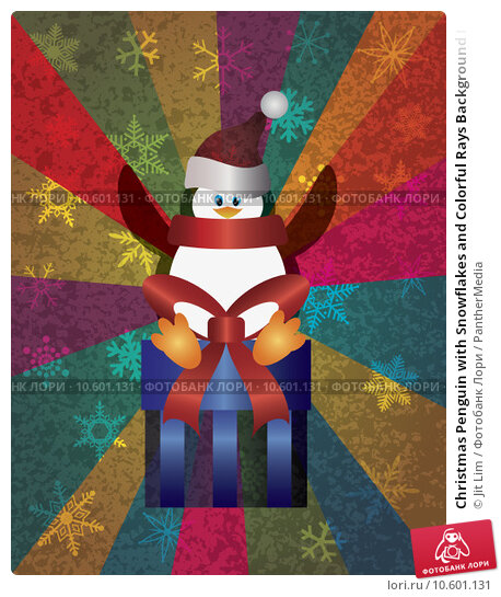 Christmas Penguin with Snowflakes and Colorful Rays Background I. Стоковая иллюстрация, иллюстратор Jit Lim / PantherMedia / Фотобанк Лори