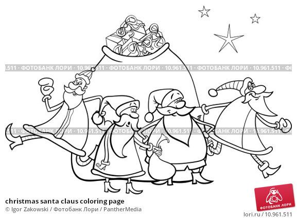 christmas santa claus coloring page. Стоковая иллюстрация, иллюстратор Igor Zakowski / PantherMedia / Фотобанк Лори