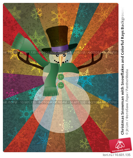 Christmas Snowman with Snowflakes and Colorful Rays Background I. Стоковая иллюстрация, иллюстратор Jit Lim / PantherMedia / Фотобанк Лори