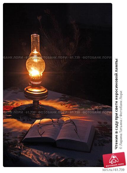 Чтение в саду при свете керосиновой лампы, фото № 61739, снято 2 июля 2007 г. (c) Ларина Татьяна / Фотобанк Лори