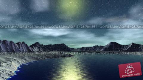 Купить «Чужая планета. Скалы и озеро. Анимация. Панорама. 4К», видеоролик № 28704591, снято 8 июля 2018 г. (c) Parmenov Pavel / Фотобанк Лори