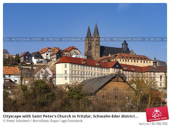 Cityscape with Saint Peter's Church in Fritzlar, Schwalm-Eder district... Стоковое фото, фотограф Peter Schickert / age Fotostock / Фотобанк Лори