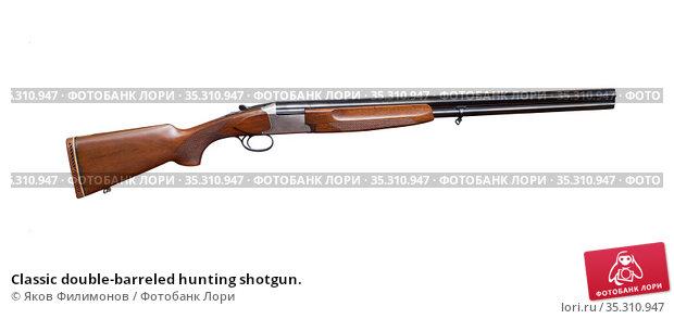 Classic double-barreled hunting shotgun. Стоковое фото, фотограф Яков Филимонов / Фотобанк Лори