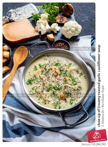 Купить «close-up of Creamy roasted garlic cauliflower soup», фото № 33284743, снято 24 декабря 2019 г. (c) Oksana Zh / Фотобанк Лори