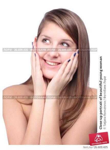 Купить «Close-up portrait of beautiful young woman», фото № 26609435, снято 27 января 2012 г. (c) Tatjana Romanova / Фотобанк Лори