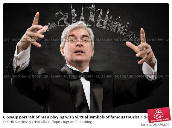 Купить «Closeup portrait of man playing with virtual symbols of famous touristic destination. Touristic service concept», фото № 28485699, снято 28 января 2013 г. (c) Ingram Publishing / Фотобанк Лори