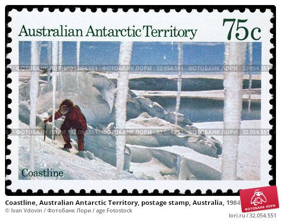 Coastline, Australian Antarctic Territory, postage stamp, Australia, 1984. (2014 год). Редакционное фото, фотограф Ivan Vdovin / age Fotostock / Фотобанк Лори