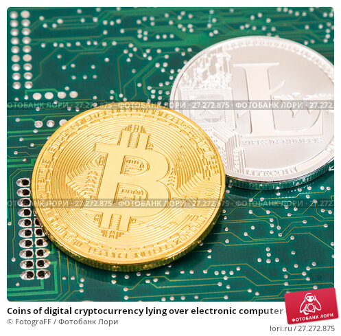 Купить «Coins of digital cryptocurrency lying over electronic computer component. Business concept of new virtual money», фото № 27272875, снято 5 ноября 2017 г. (c) FotograFF / Фотобанк Лори
