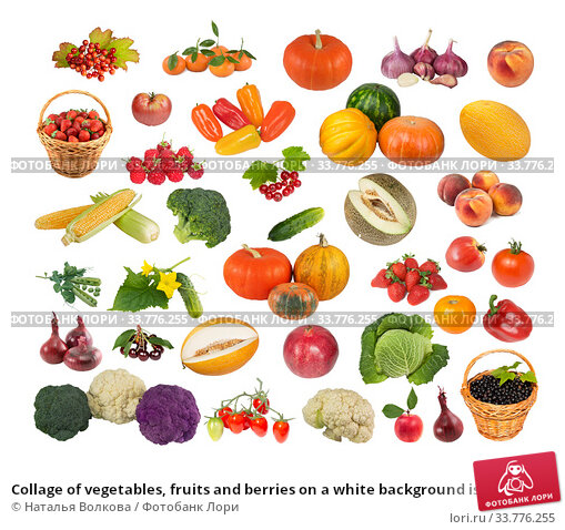Купить «Collage of vegetables, fruits and berries on a white background isolated», фото № 33776255, снято 15 августа 2014 г. (c) Наталья Волкова / Фотобанк Лори