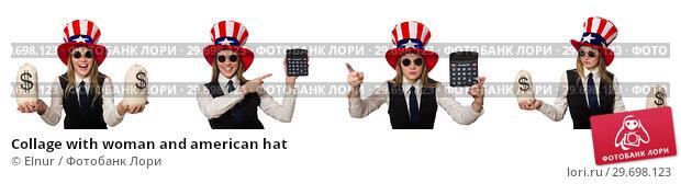 Купить «Collage with woman and american hat», фото № 29698123, снято 24 апреля 2019 г. (c) Elnur / Фотобанк Лори