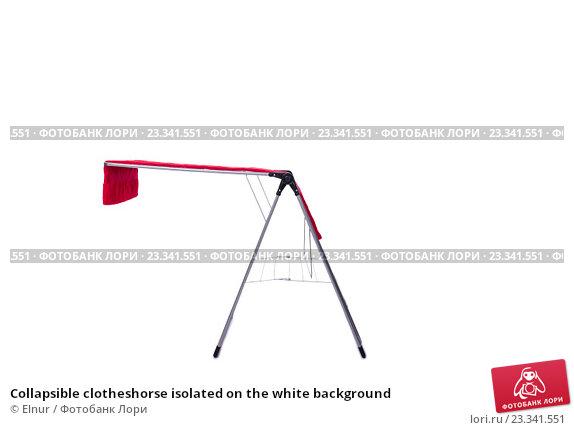 Купить «Collapsible clotheshorse isolated on the white background», фото № 23341551, снято 1 июня 2016 г. (c) Elnur / Фотобанк Лори