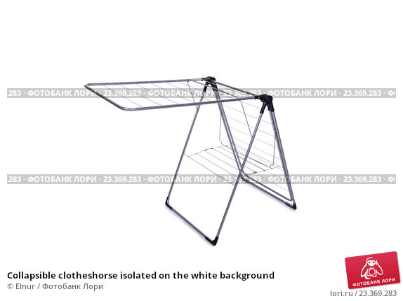 Купить «Collapsible clotheshorse isolated on the white background», фото № 23369283, снято 1 июня 2016 г. (c) Elnur / Фотобанк Лори